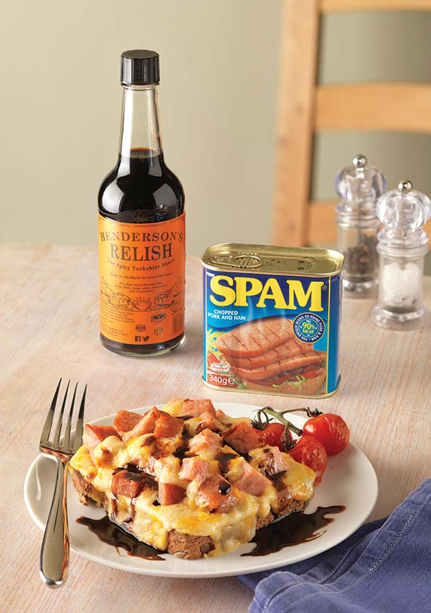 Yorkshire-SPAM-Rarebit-with-Henderson's-Relish-can-and-bottle