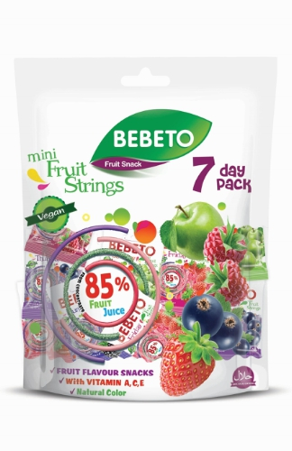 BEBETO 7 DAY PACK: innovative new high juice fruit snack from Kervan is now available in the UK.We have worked to develop a great tasting high juice snack that meets the demands of our modern family lifestyle with low added sugar, high fruit juice and which is packaged in a fun portion controlled pack ideal for lunch boxes and as a fat free snack all day.Bebeto 7 Day Pack is packed in a re-sealable pouch bag to ensure the products are always fresh and maintain their great taste. (PRNewsFoto/Kervan Gida)