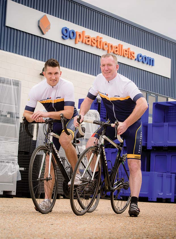 From-left---Daniel-Starnes-and-Denzil-Davies-of-Goplasticpallets.com-are-geared-up-to-take-on-the-Tour-de-Force-challenge-in-aid-of-the-William-Wates-Memorial-Trust.